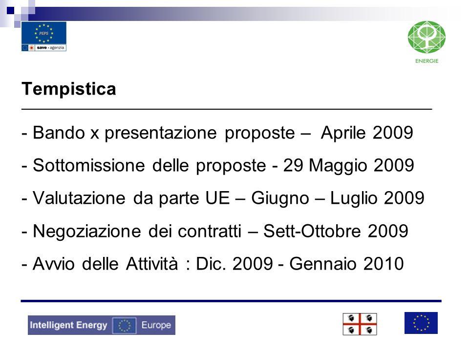 Tempistica _________________________________________________________________________________ - Bando x presentazione proposte – Aprile 2009 - Sottomissione delle proposte - 29 Maggio 2009 - Valutazione da parte UE – Giugno – Luglio 2009 - Negoziazione dei contratti – Sett-Ottobre 2009 - Avvio delle Attività : Dic.