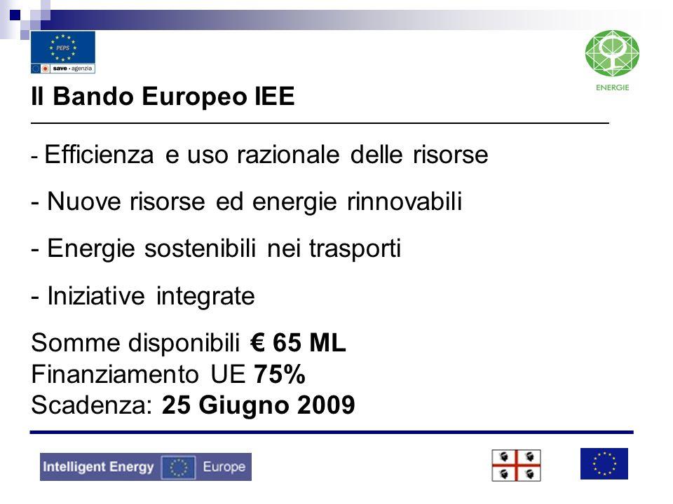 Il Bando Europeo IEE _____________________________________________________________________________________________ - Efficienza e uso razionale delle risorse - Nuove risorse ed energie rinnovabili - Energie sostenibili nei trasporti - Iniziative integrate Somme disponibili € 65 ML Finanziamento UE 75% Scadenza: 25 Giugno 2009