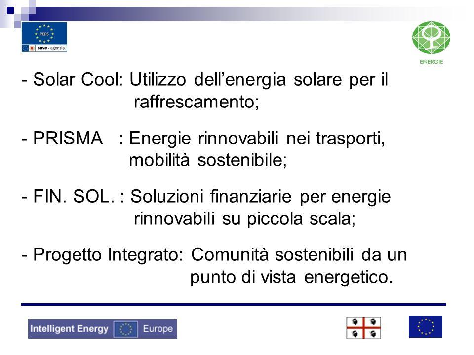 - Solar Cool: Utilizzo dell'energia solare per il raffrescamento; - PRISMA : Energie rinnovabili nei trasporti, mobilità sostenibile; - FIN.