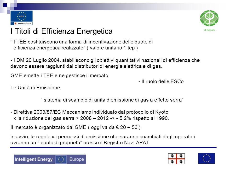 I Titoli di Efficienza Energetica I TEE costituiscono una forma di incentivazione delle quote di efficienza energetica realizzate ( valore unitario 1 tep ) - I DM 20 Luglio 2004, stabiliscono gli obiettivi quantitativi nazionali di efficienza che devono essere raggiunti dai distributori di energia elettrica e di gas.