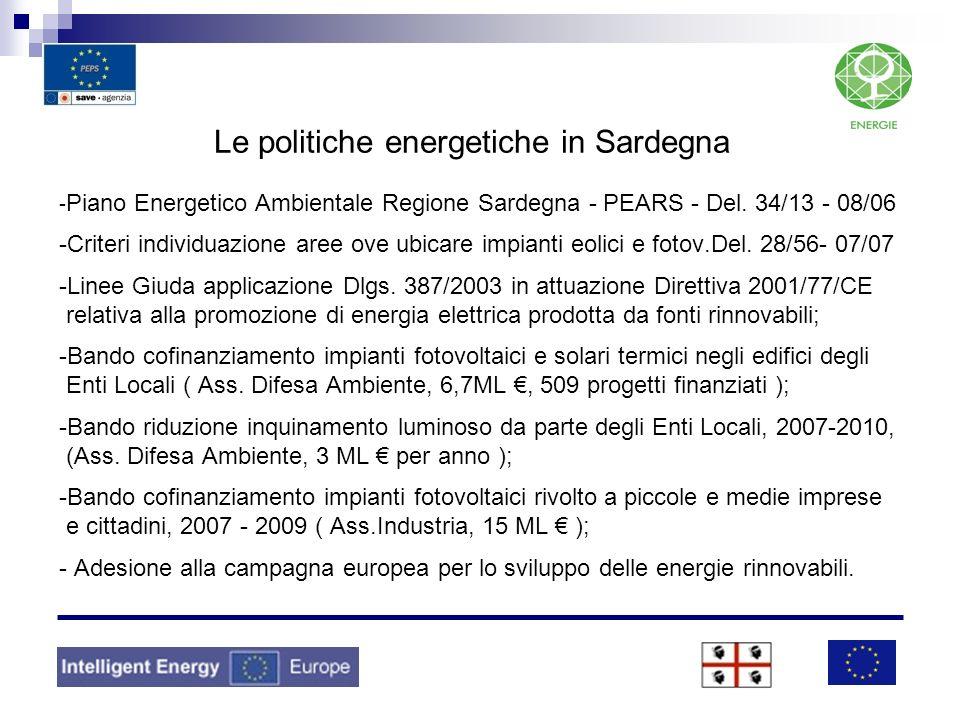 Le politiche energetiche in Sardegna -Piano Energetico Ambientale Regione Sardegna - PEARS - Del.