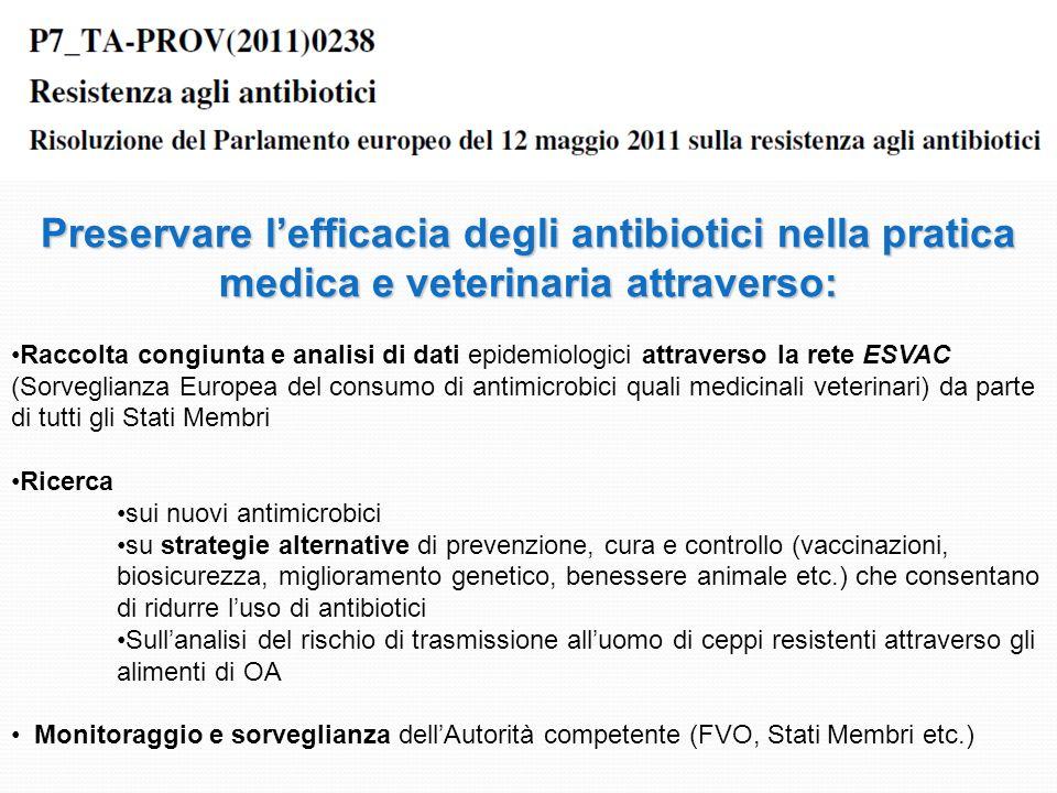 Preservare l'efficacia degli antibiotici nella pratica medica e veterinaria attraverso: