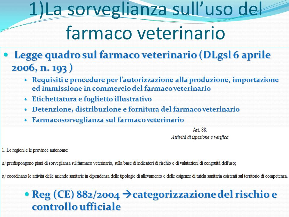 1)La sorveglianza sull'uso del farmaco veterinario