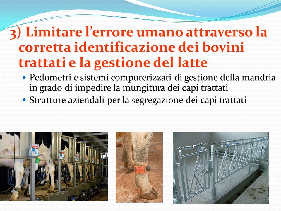 3) Limitare l'errore umano attraverso la corretta identificazione dei bovini trattati e la gestione del latte
