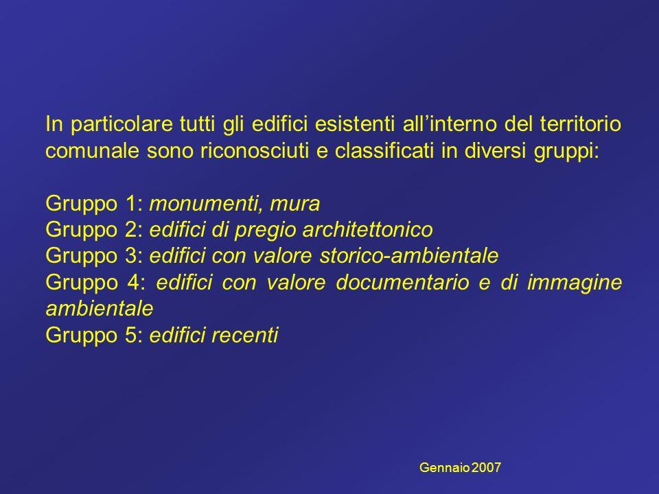 Gruppo 1: monumenti, mura Gruppo 2: edifici di pregio architettonico