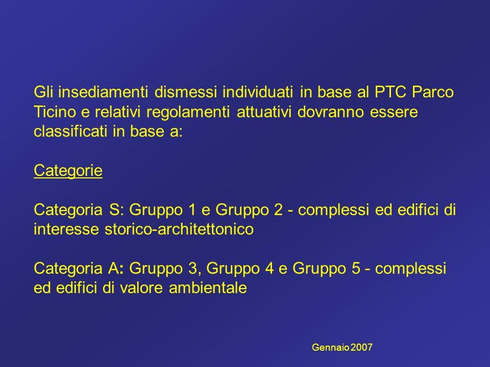 Gli insediamenti dismessi individuati in base al PTC Parco Ticino e relativi regolamenti attuativi dovranno essere classificati in base a: