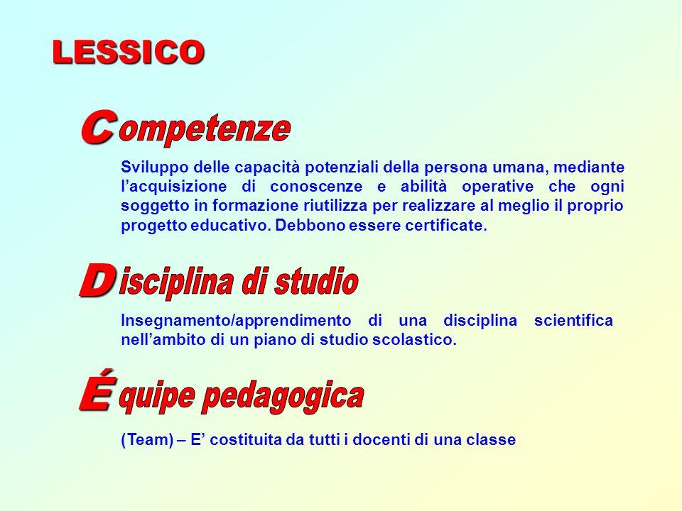 C D É ompetenze isciplina di studio quipe pedagogica LESSICO