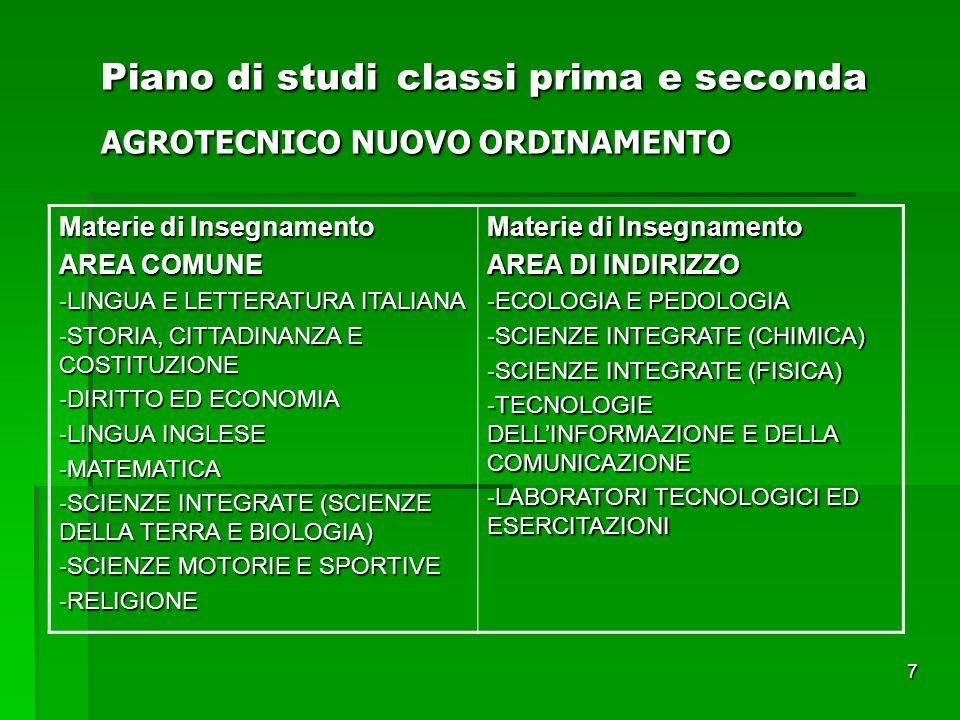Piano di studi classi prima e seconda AGROTECNICO NUOVO ORDINAMENTO