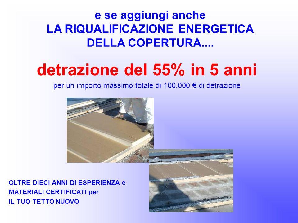 LA RIQUALIFICAZIONE ENERGETICA detrazione del 55% in 5 anni