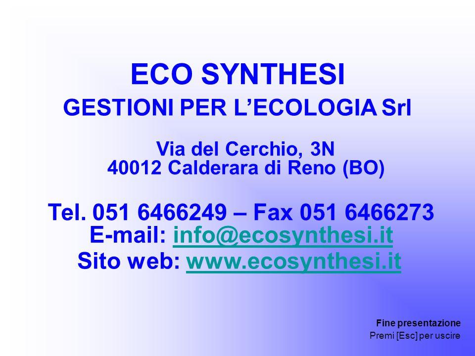 GESTIONI PER L'ECOLOGIA Srl E-mail: info@ecosynthesi.it