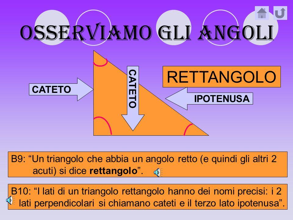 OSSERVIAMO gli angoli RETTANGOLO CATETO CATETO IPOTENUSA