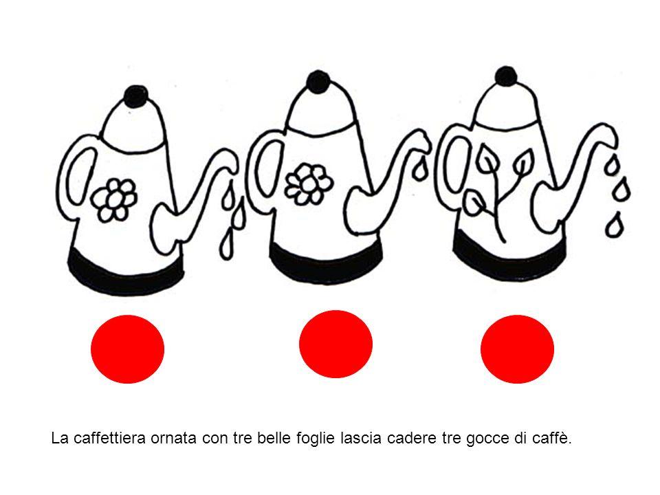 La caffettiera ornata con tre belle foglie lascia cadere tre gocce di caffè.