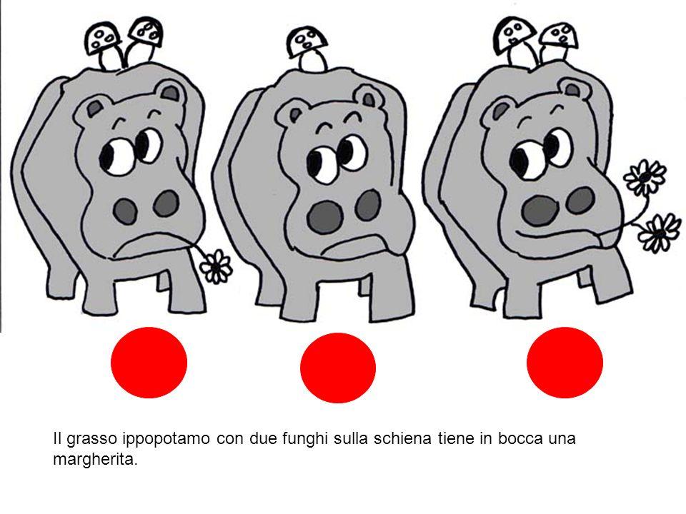 Il grasso ippopotamo con due funghi sulla schiena tiene in bocca una margherita.