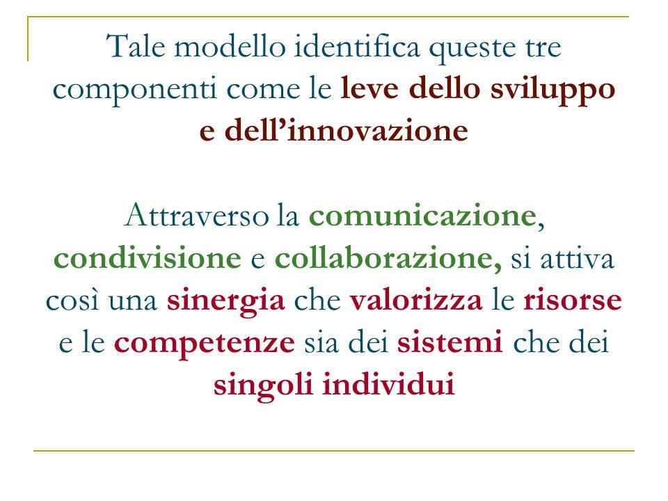 Tale modello identifica queste tre componenti come le leve dello sviluppo e dell'innovazione Attraverso la comunicazione, condivisione e collaborazione, si attiva così una sinergia che valorizza le risorse e le competenze sia dei sistemi che dei singoli individui
