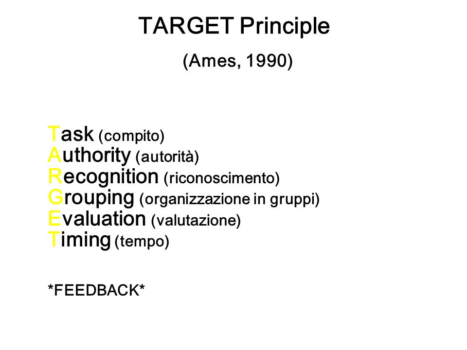 TARGET Principle (Ames, 1990)