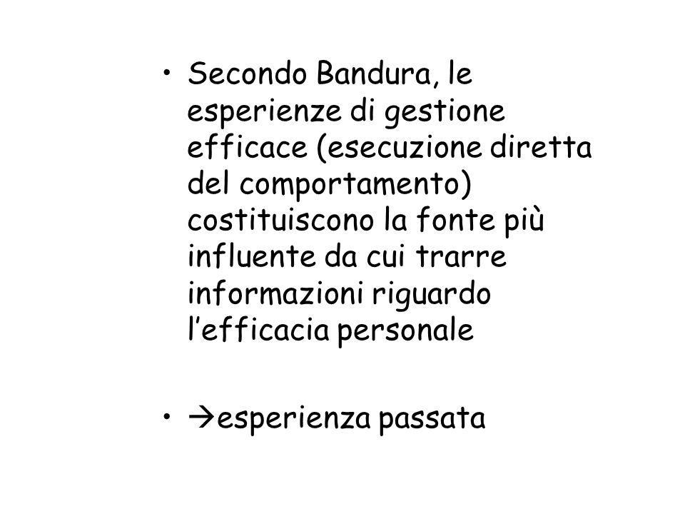 Secondo Bandura, le esperienze di gestione efficace (esecuzione diretta del comportamento) costituiscono la fonte più influente da cui trarre informazioni riguardo l'efficacia personale