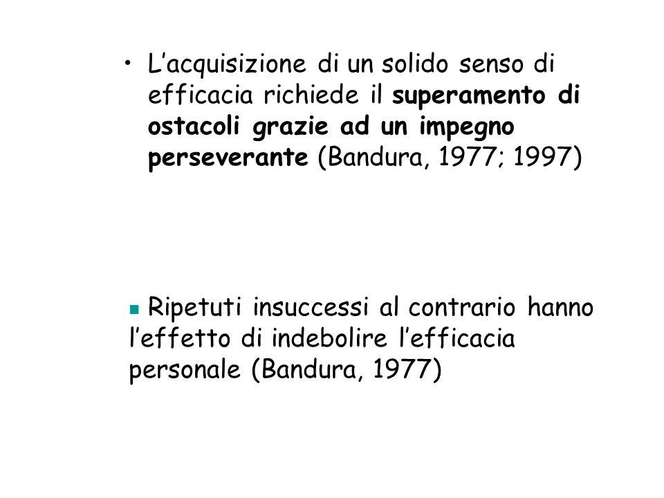 L'acquisizione di un solido senso di efficacia richiede il superamento di ostacoli grazie ad un impegno perseverante (Bandura, 1977; 1997)