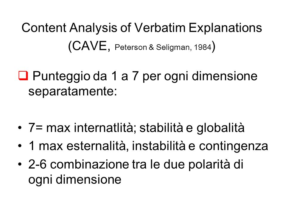 Content Analysis of Verbatim Explanations (CAVE, Peterson & Seligman, 1984)