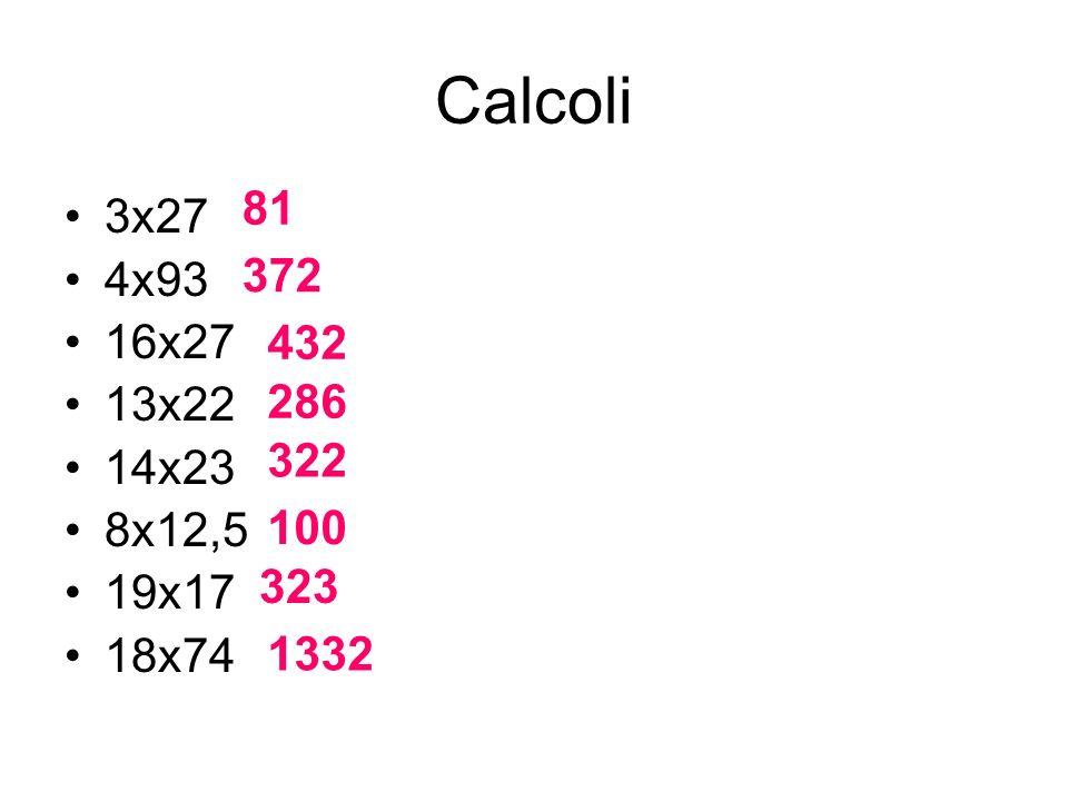 Calcoli 81 3x27 4x93 16x27 13x22 14x23 8x12,5 19x17 18x74 372 432 286 322 100 323 1332