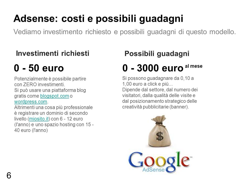 Adsense: costi e possibili guadagni