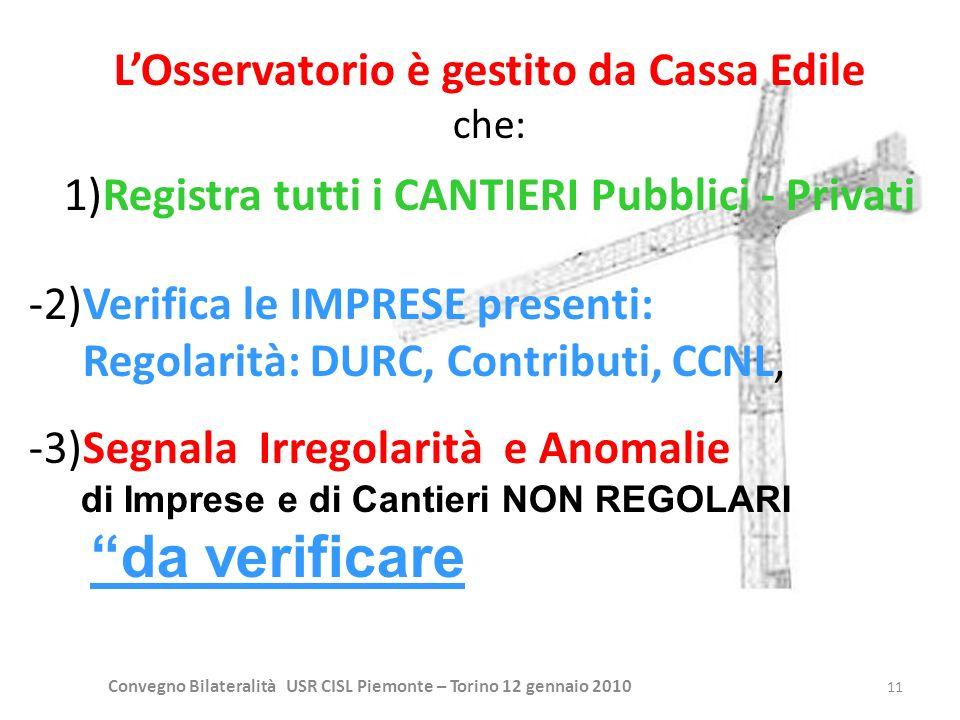 Convegno Bilateralità USR CISL Piemonte – Torino 12 gennaio 2010