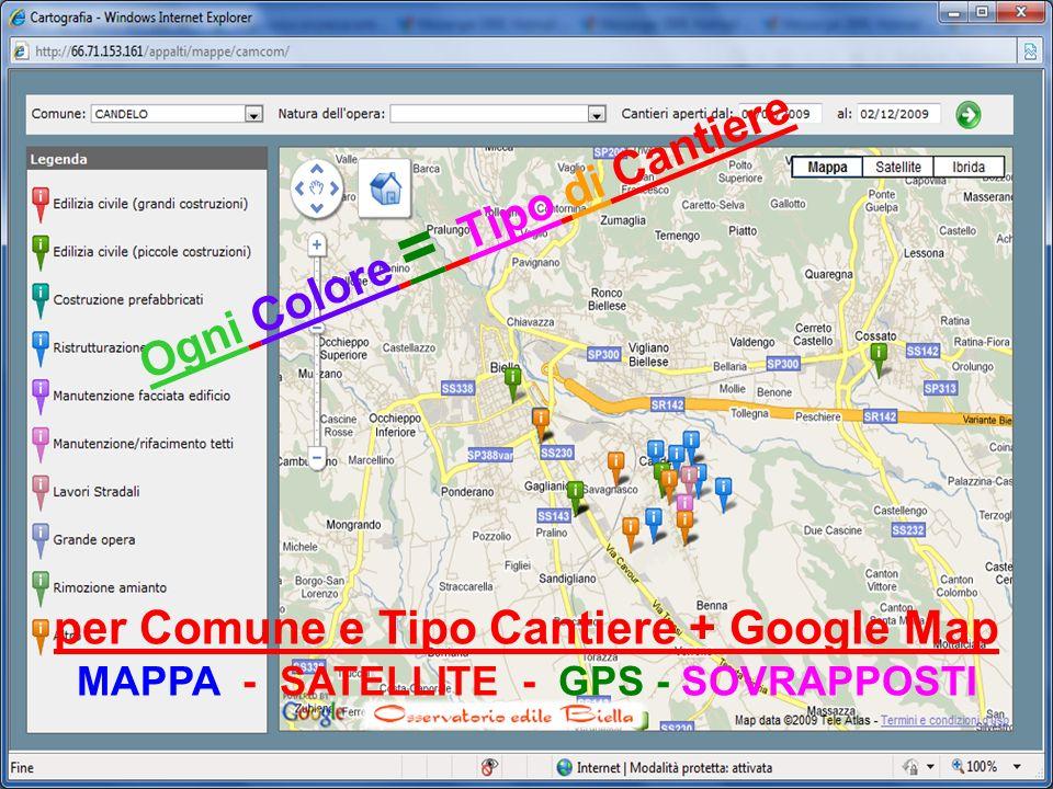 per Comune e Tipo Cantiere + Google Map