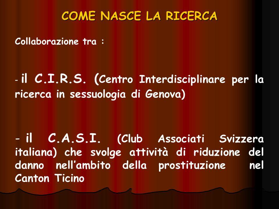 COME NASCE LA RICERCA Collaborazione tra : il C.I.R.S. (Centro Interdisciplinare per la ricerca in sessuologia di Genova)