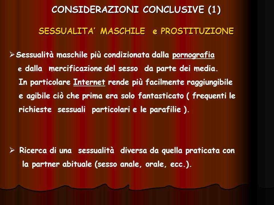 CONSIDERAZIONI CONCLUSIVE (1) SESSUALITA' MASCHILE e PROSTITUZIONE