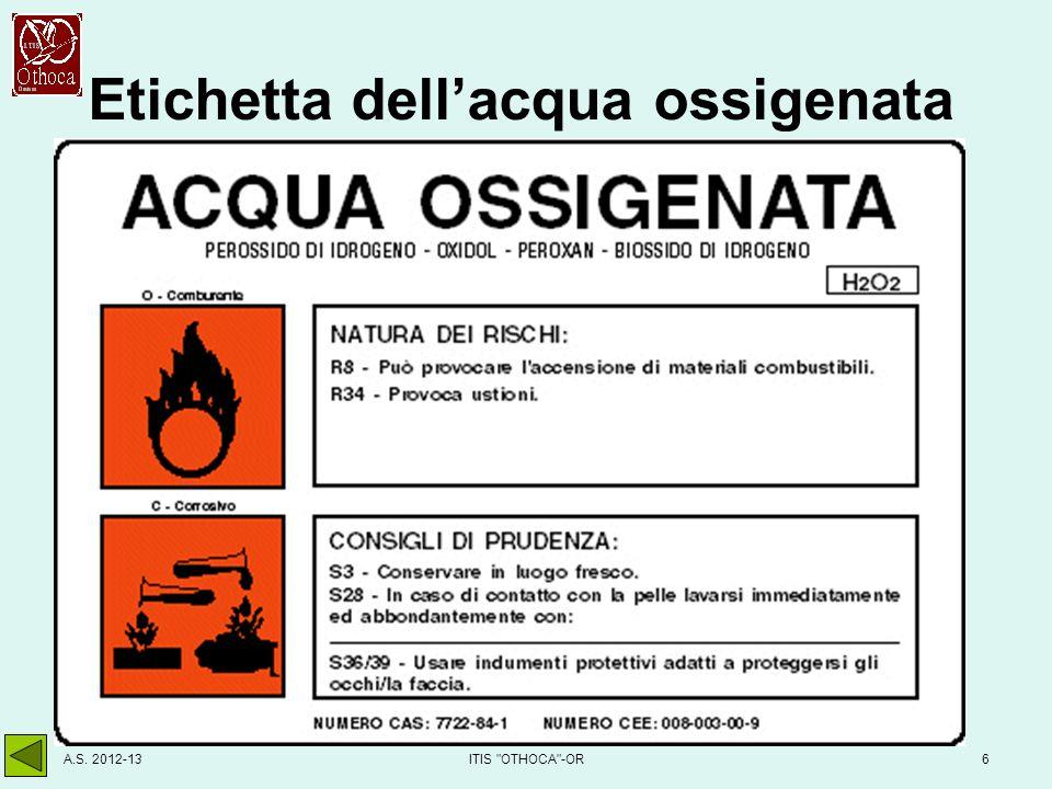 Etichetta dell'acqua ossigenata