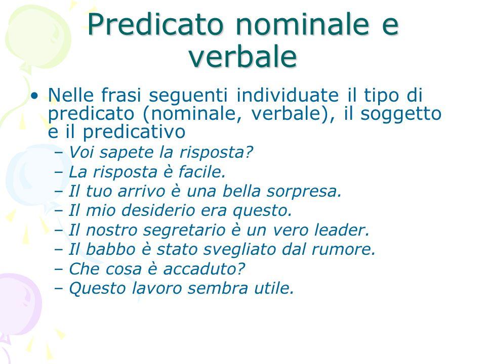 Predicato nominale e verbale
