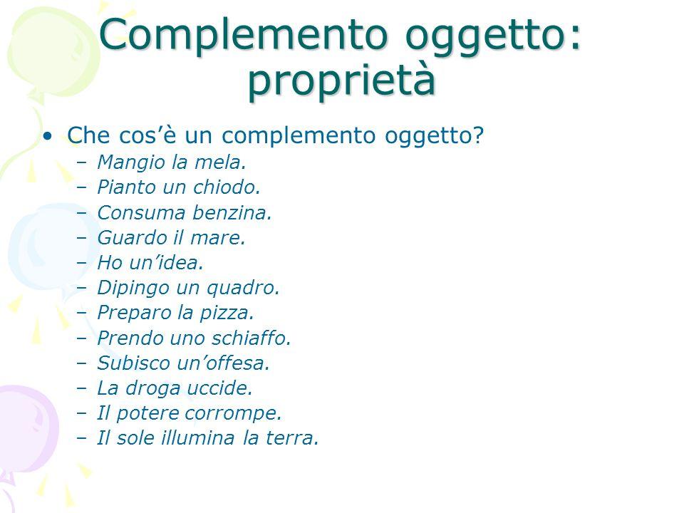 Complemento oggetto: proprietà