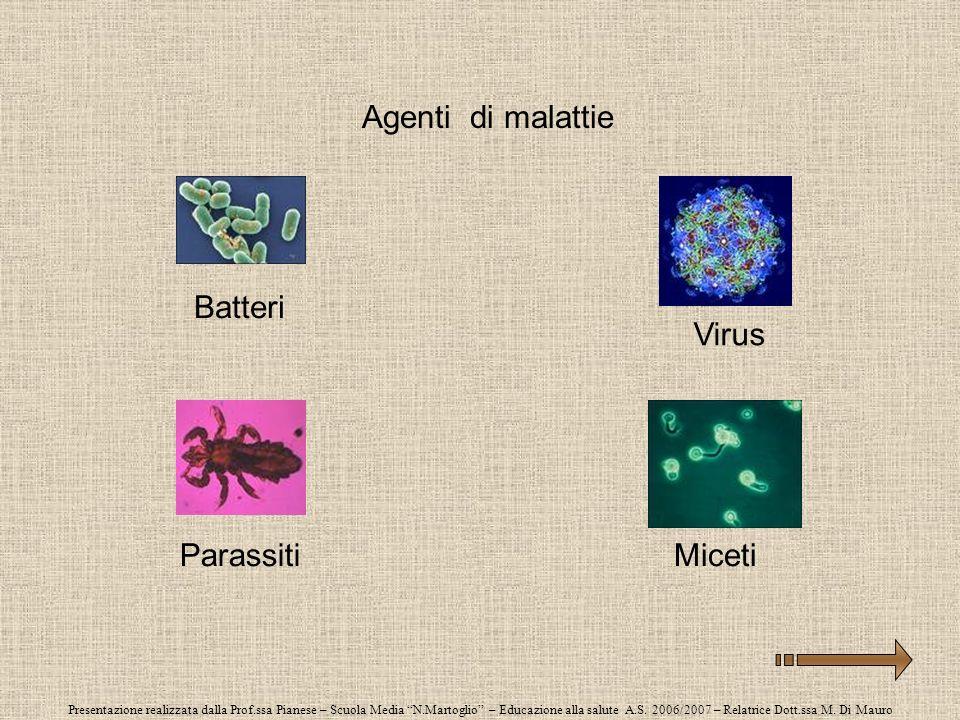 Agenti di malattie Batteri Virus Parassiti Miceti