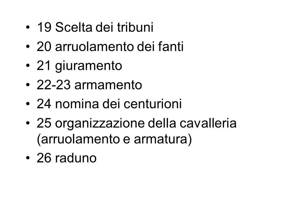 19 Scelta dei tribuni 20 arruolamento dei fanti. 21 giuramento. 22-23 armamento. 24 nomina dei centurioni.