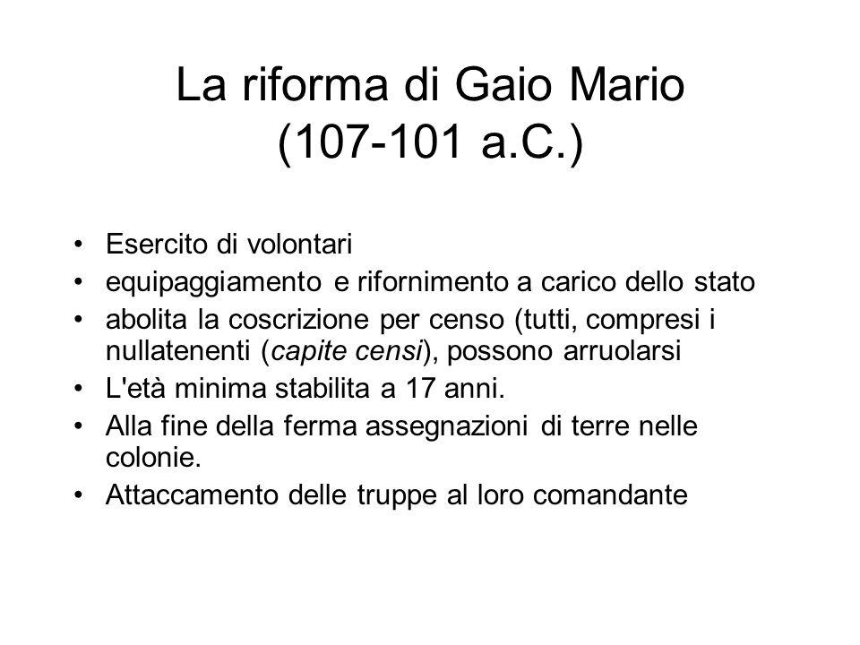 La riforma di Gaio Mario (107-101 a.C.)