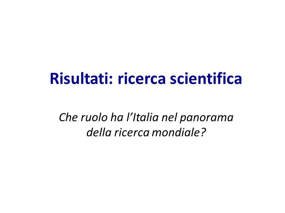 Risultati: ricerca scientifica Che ruolo ha l'Italia nel panorama della ricerca mondiale