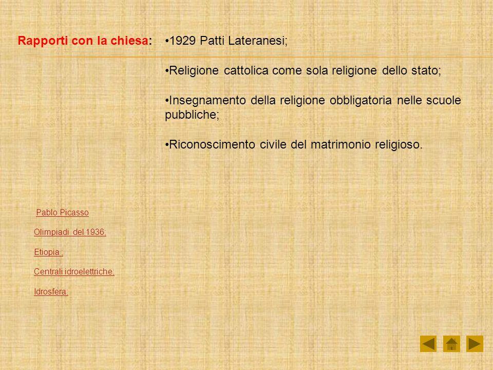 Rapporti con la chiesa: 1929 Patti Lateranesi;
