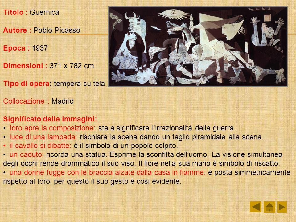 Titolo : Guernica Autore : Pablo Picasso. Epoca : 1937. Dimensioni : 371 x 782 cm. Tipo di opera: tempera su tela.
