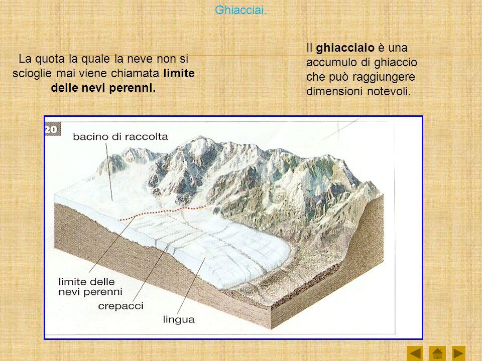 Ghiacciai. Il ghiacciaio è una accumulo di ghiaccio che può raggiungere dimensioni notevoli.