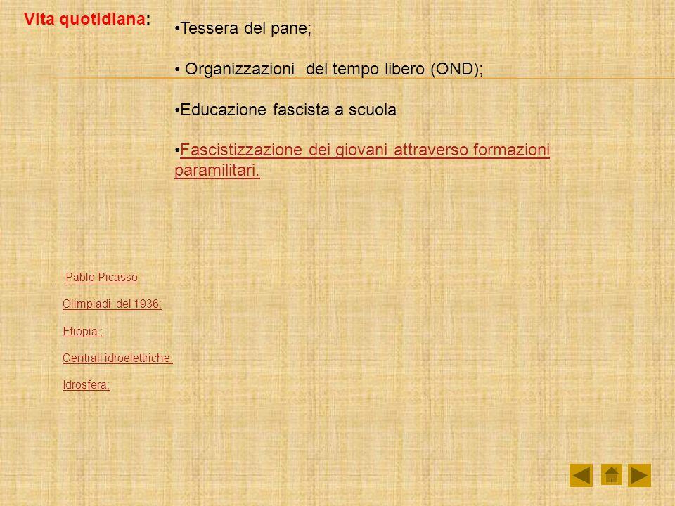 Organizzazioni del tempo libero (OND); Educazione fascista a scuola