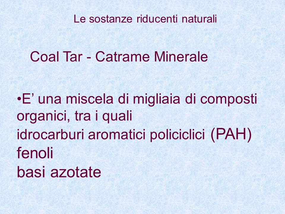 fenoli basi azotate Coal Tar - Catrame Minerale