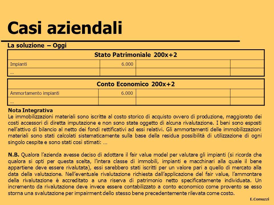 Casi aziendali Stato Patrimoniale 200x+2 Conto Economico 200x+2