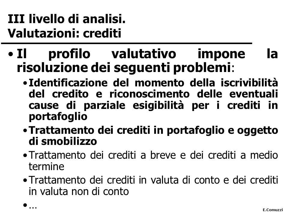 III livello di analisi. Valutazioni: crediti