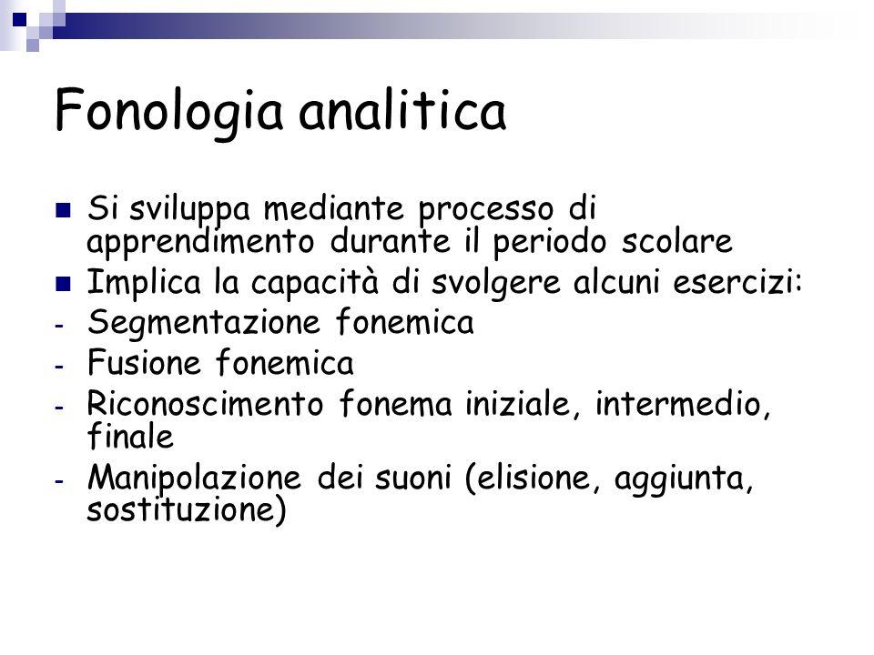 Fonologia analitica Si sviluppa mediante processo di apprendimento durante il periodo scolare. Implica la capacità di svolgere alcuni esercizi: