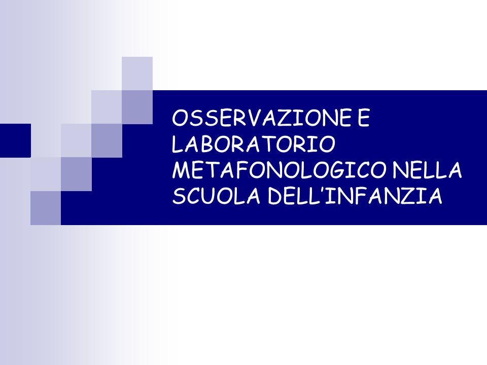 OSSERVAZIONE E LABORATORIO METAFONOLOGICO NELLA SCUOLA DELL'INFANZIA