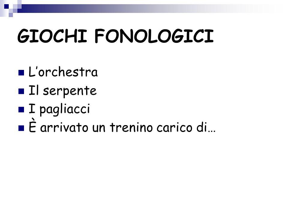 GIOCHI FONOLOGICI L'orchestra Il serpente I pagliacci