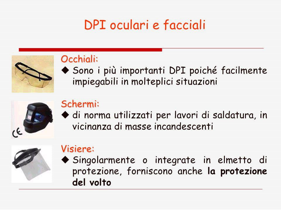 DPI oculari e facciali Occhiali: