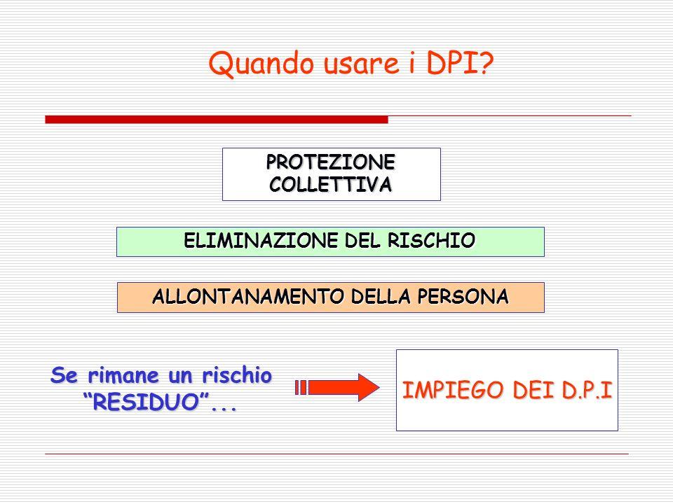 Quando usare i DPI Se rimane un rischio RESIDUO ...