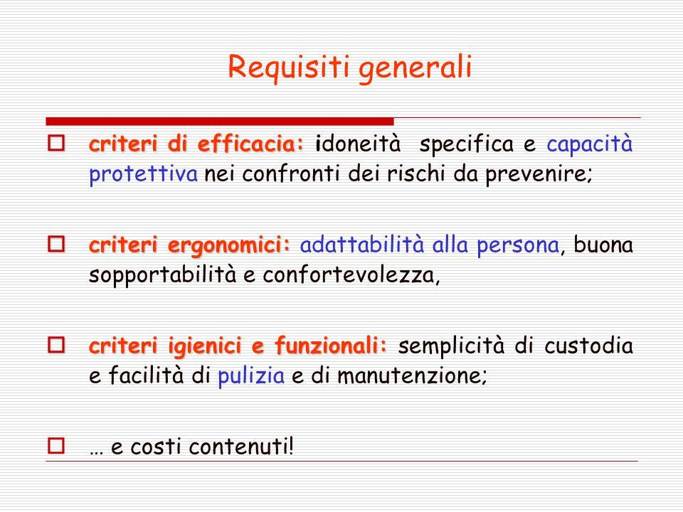 Requisiti generali criteri di efficacia: idoneità specifica e capacità protettiva nei confronti dei rischi da prevenire;