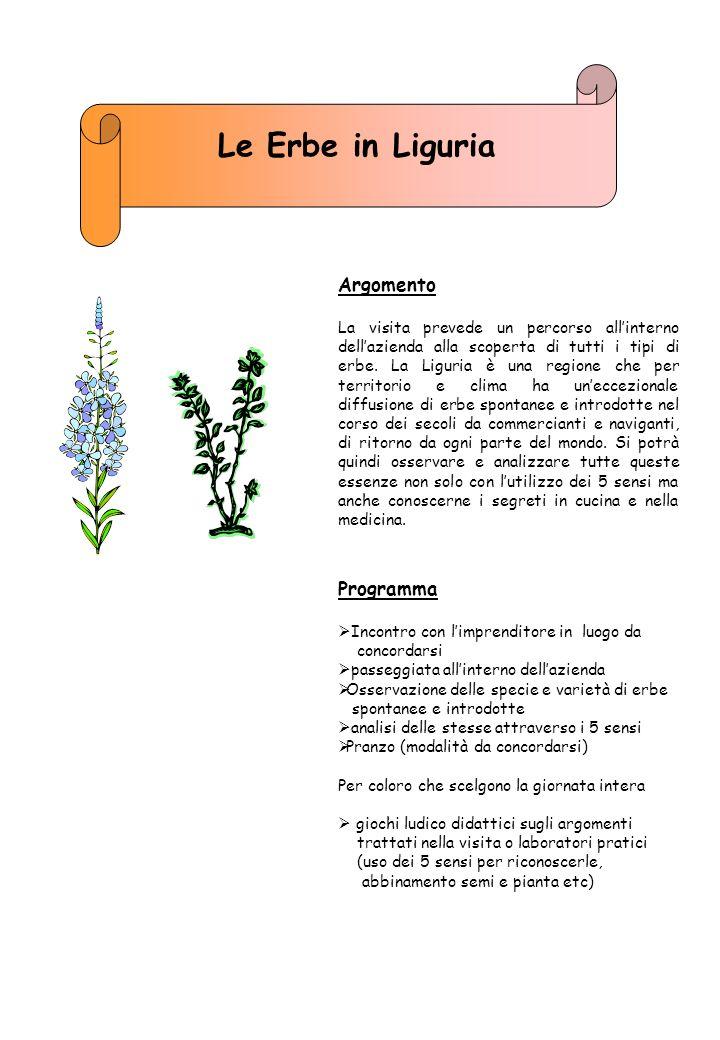 Le Erbe in Liguria Argomento Programma