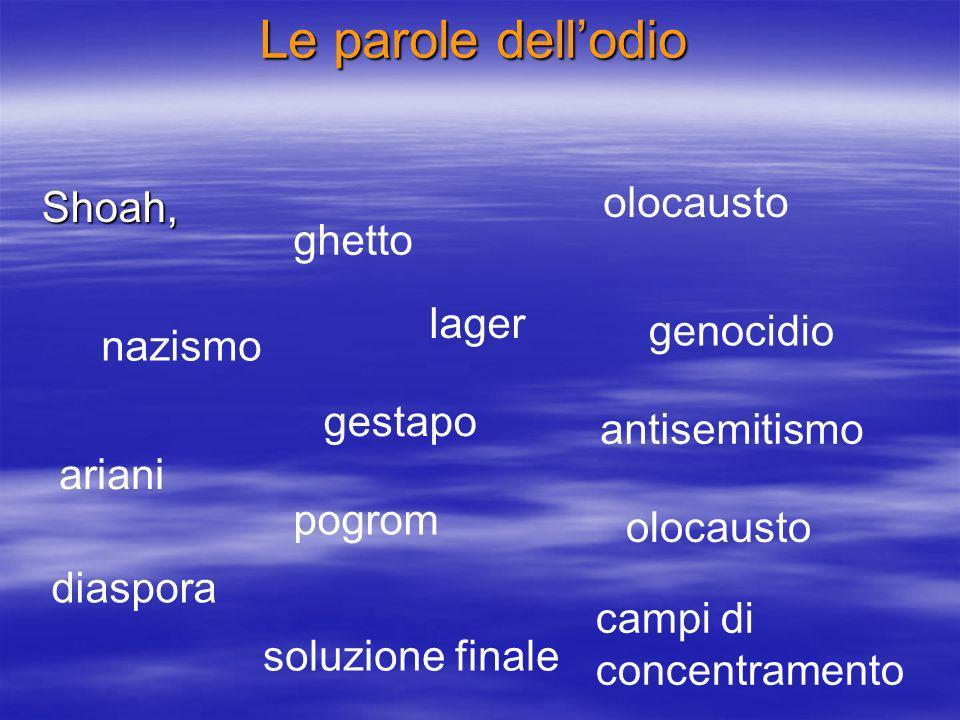 Le parole dell'odio olocausto Shoah, ghetto lager genocidio nazismo